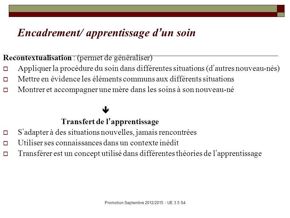 Promotion Septembre 2012/2015 - UE 3.5 S4 Encadrement/ apprentissage dun soin Recontextualisation : (permet de généraliser) Appliquer la procédure du