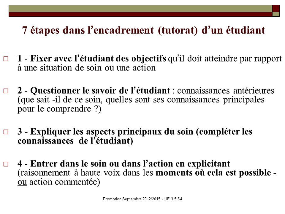 Promotion Septembre 2012/2015 - UE 3.5 S4 7 étapes dans lencadrement (tutorat) dun étudiant 1 - Fixer avec létudiant des objectifs quil doit atteindre