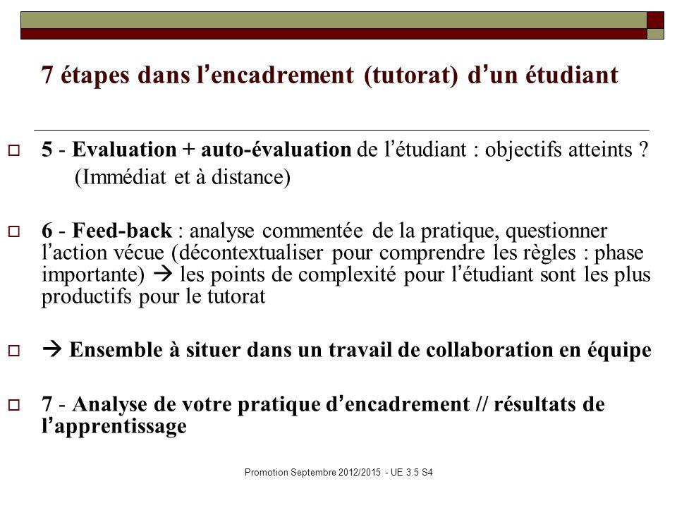 Promotion Septembre 2012/2015 - UE 3.5 S4 7 étapes dans lencadrement (tutorat) dun étudiant 5 - Evaluation + auto-évaluation de létudiant : objectifs