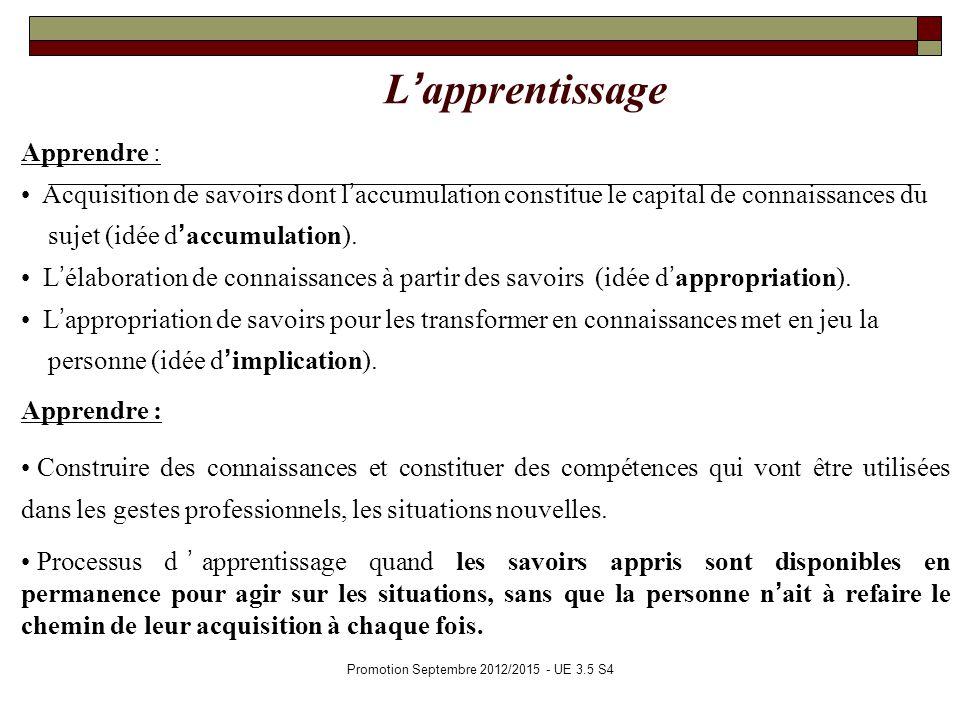 Promotion Septembre 2012/2015 - UE 3.5 S4 Lapprentissage Apprendre : Acquisition de savoirs dont laccumulation constitue le capital de connaissances d