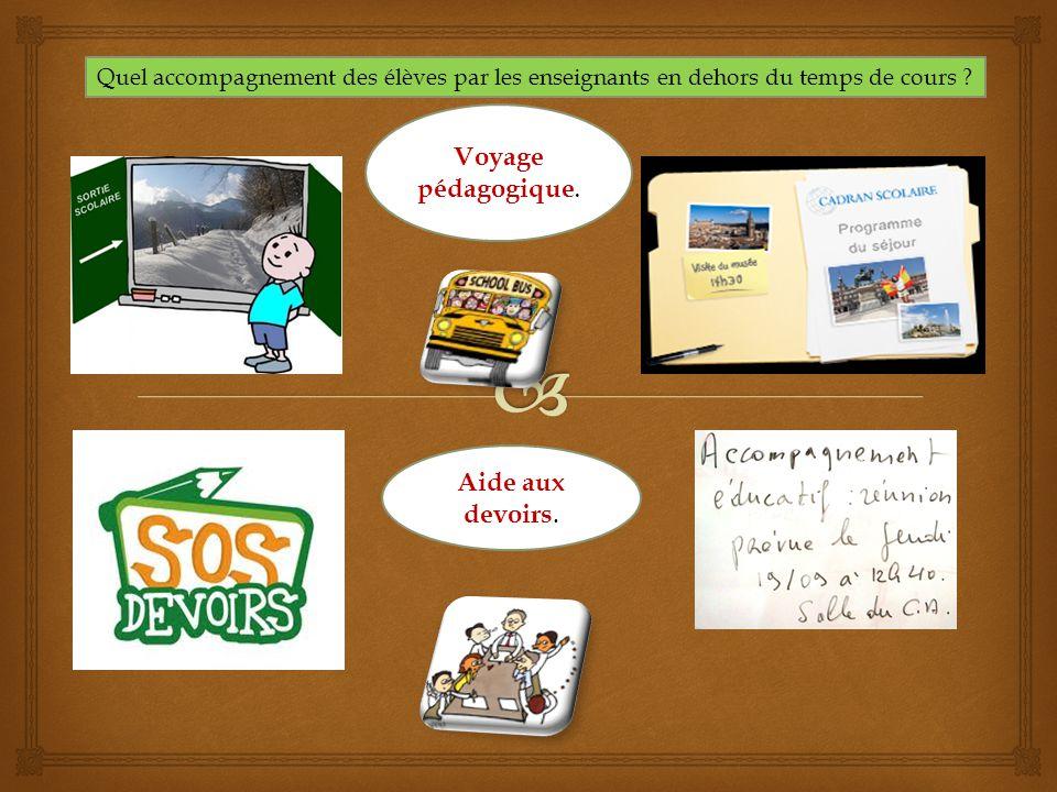 Quel accompagnement des élèves par les enseignants en dehors du temps de cours ? Voyage pédagogique. Aide aux devoirs.
