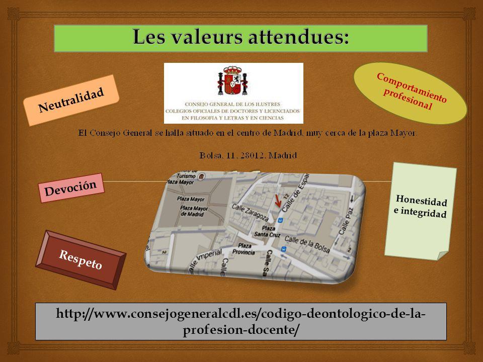 Devoción Neutralidad Respeto Comportamiento profesional Honestidad e integridad http://www.consejogeneralcdl.es/codigo-deontologico-de-la- profesion-docente/