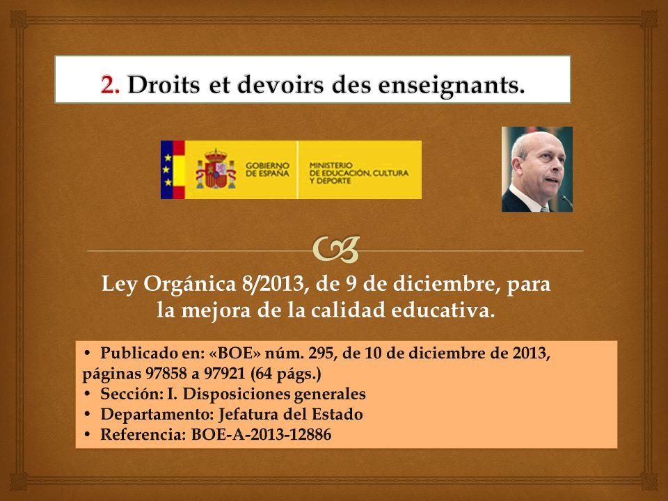 Ley Orgánica 8/2013, de 9 de diciembre, para la mejora de la calidad educativa.