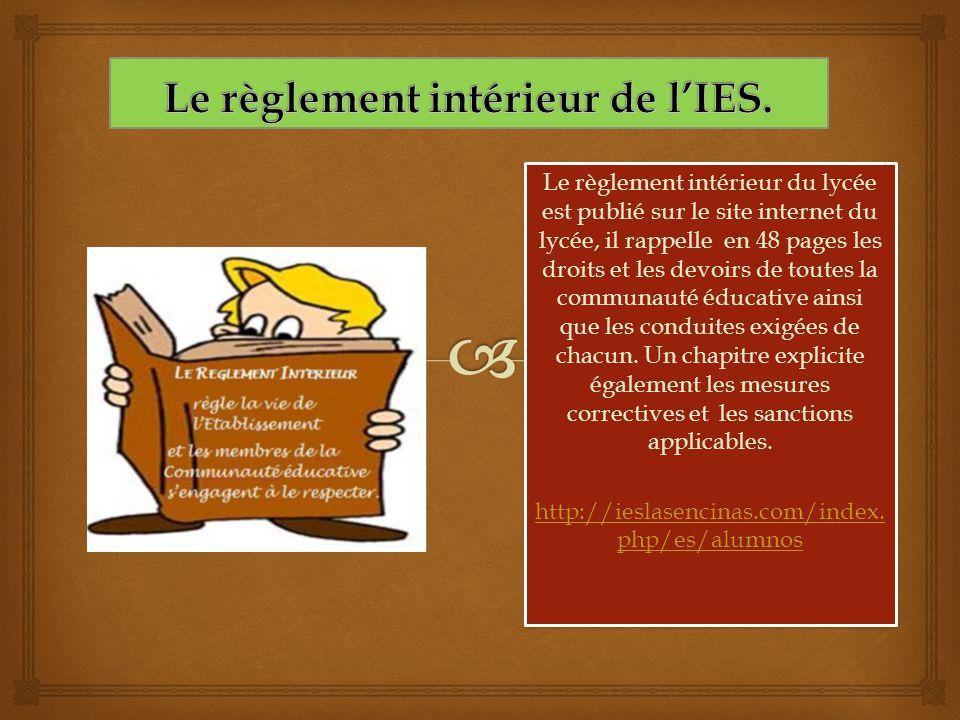Le règlement intérieur du lycée est publié sur le site internet du lycée, il rappelle en 48 pages les droits et les devoirs de toutes la communauté éd