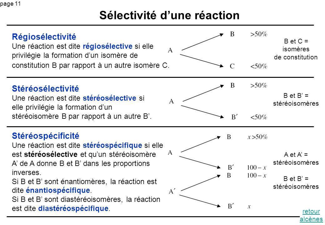 page 11 Sélectivité dune réaction Stéréospécificité Une réaction est dite stéréospécifique si elle est stéréosélective et quun stéréoisomère A de A do
