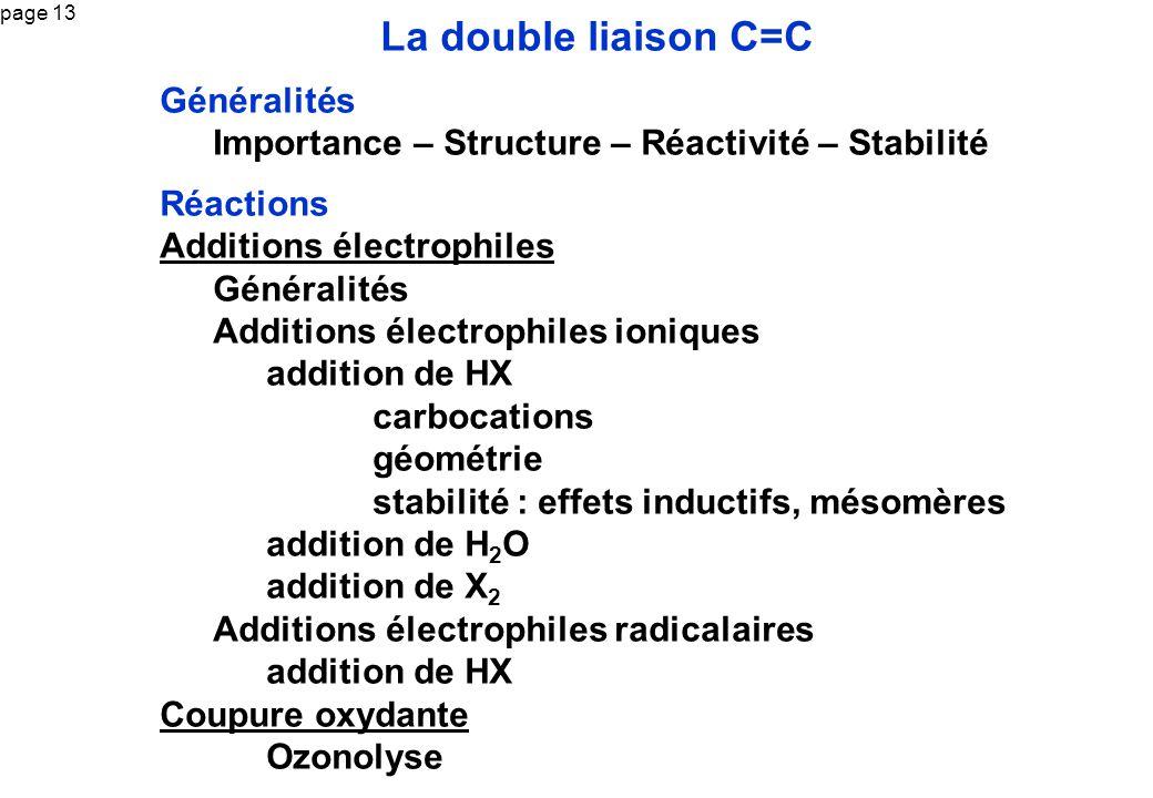 page 13 La double liaison C=C Généralités Importance – Structure – Réactivité – Stabilité Réactions Additions électrophiles Généralités Additions élec