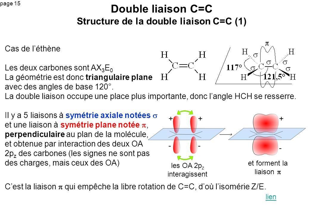 page 15 Cas de léthène Les deux carbones sont AX 3 E 0 La géométrie est donc triangulaire plane avec des angles de base 120°. La double liaison occupe