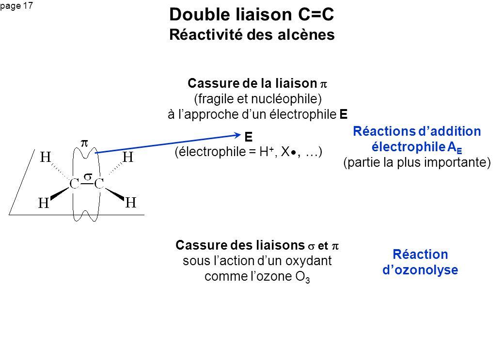 page 17 Cassure de la liaison (fragile et nucléophile) à lapproche dun électrophile E Double liaison C=C Réactivité des alcènes Réactions daddition él