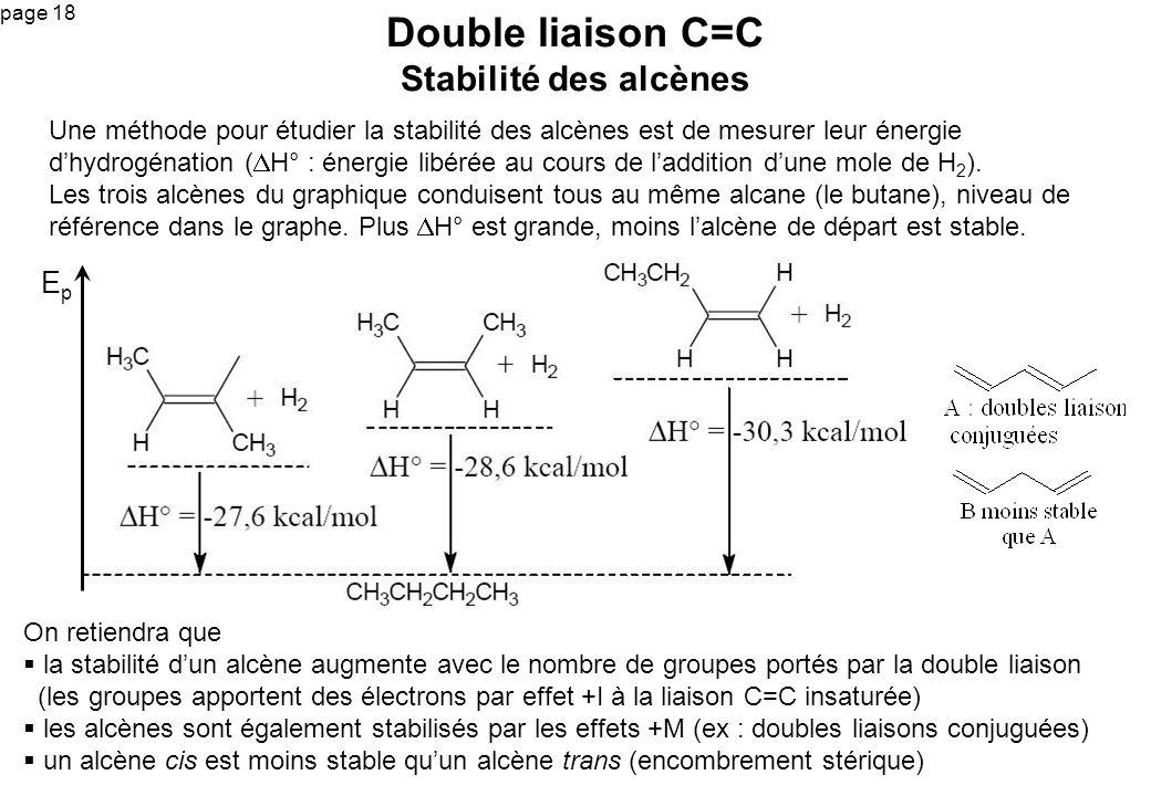 page 18 On retiendra que la stabilité dun alcène augmente avec le nombre de groupes portés par la double liaison (les groupes apportent des électrons