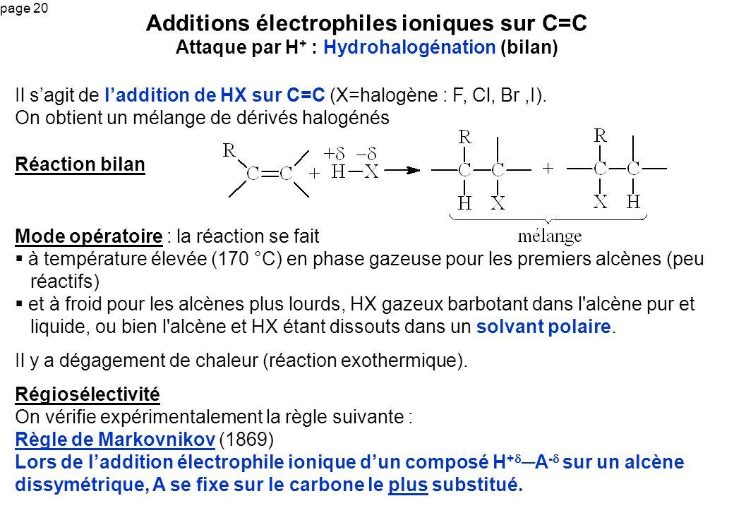 page 20 Il sagit de laddition de HX sur C=C (X=halogène : F, Cl, Br,I). On obtient un mélange de dérivés halogénés Additions électrophiles ioniques su