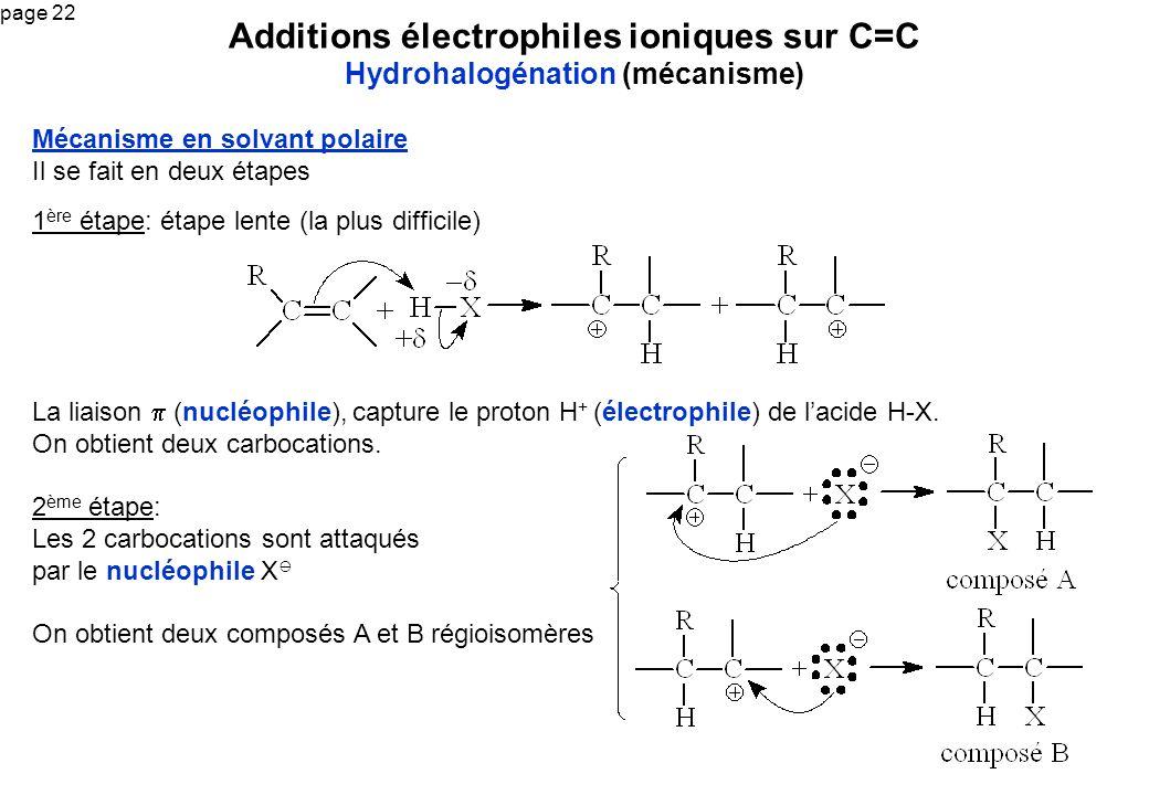 page 22 Additions électrophiles ioniques sur C=C Hydrohalogénation (mécanisme) Mécanisme en solvant polaire Il se fait en deux étapes 1 ère étape: éta