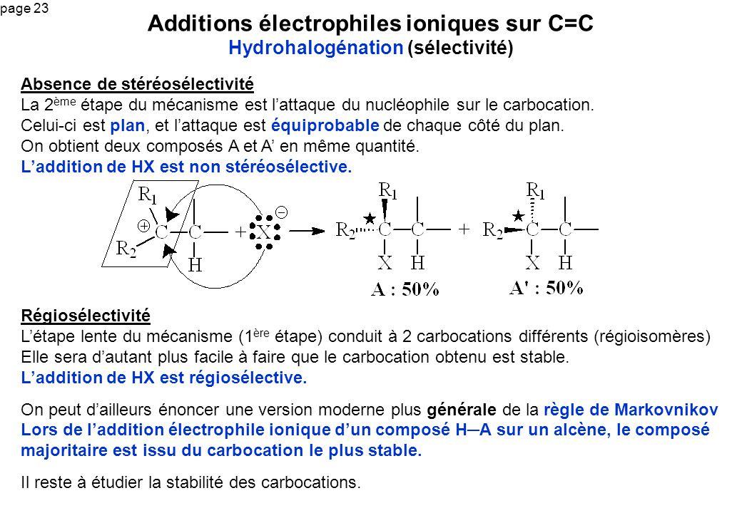 page 23 Additions électrophiles ioniques sur C=C Hydrohalogénation (sélectivité) Absence de stéréosélectivité La 2 ème étape du mécanisme est lattaque