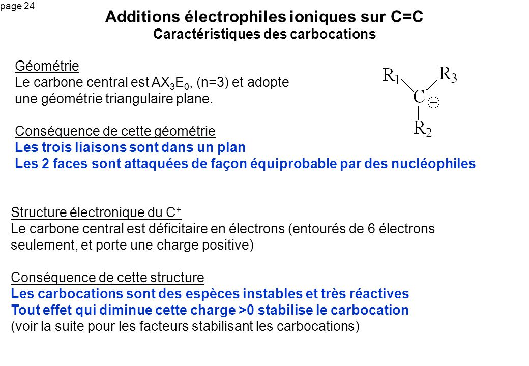 page 24 Additions électrophiles ioniques sur C=C Caractéristiques des carbocations Géométrie Le carbone central est AX 3 E 0, (n=3) et adopte une géom