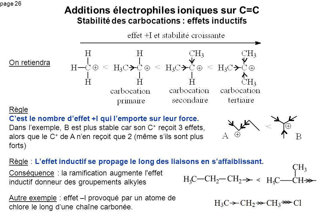 page 26 Additions électrophiles ioniques sur C=C Stabilité des carbocations : effets inductifs On retiendra Règle Cest le nombre deffet +I qui lemport