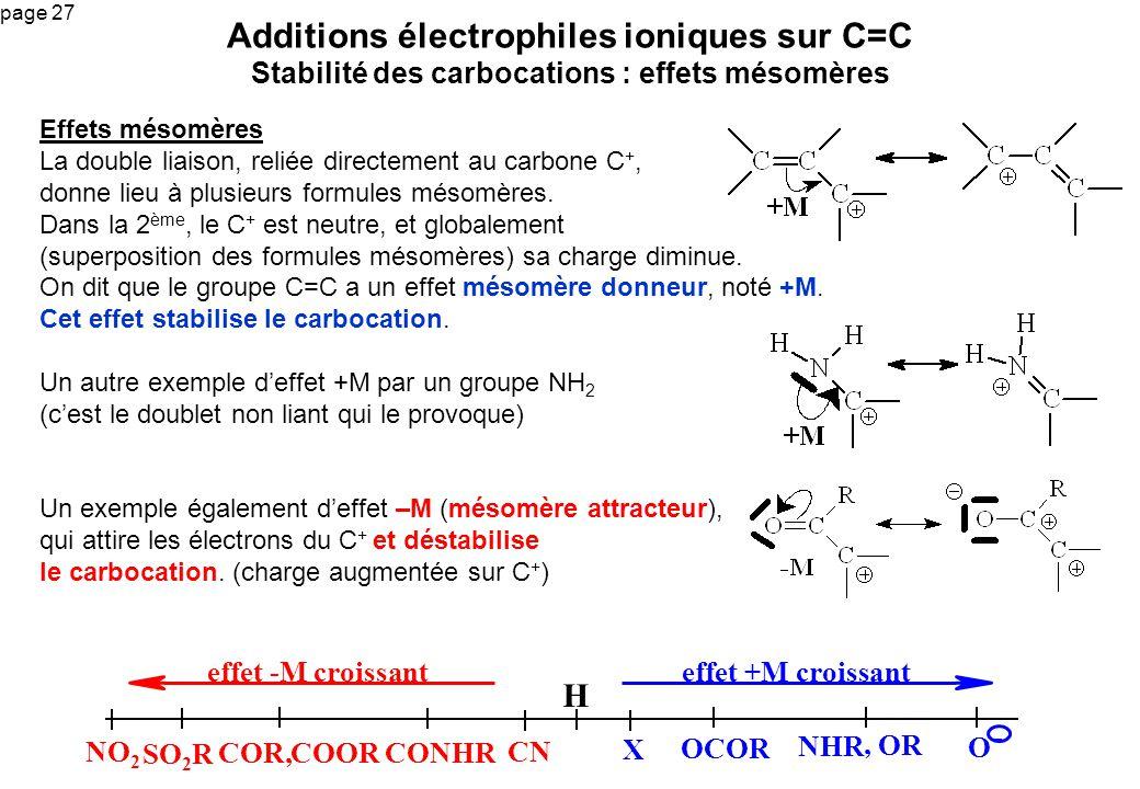 page 27 Effets mésomères La double liaison, reliée directement au carbone C +, donne lieu à plusieurs formules mésomères. Dans la 2 ème, le C + est ne