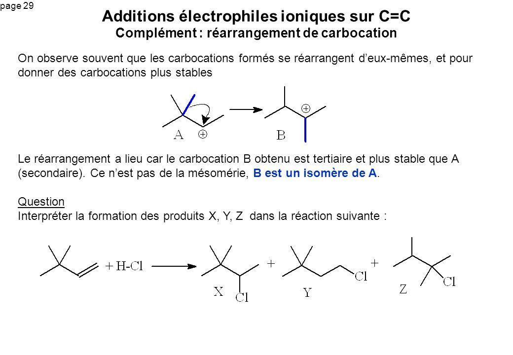 page 29 Additions électrophiles ioniques sur C=C Complément : réarrangement de carbocation On observe souvent que les carbocations formés se réarrange