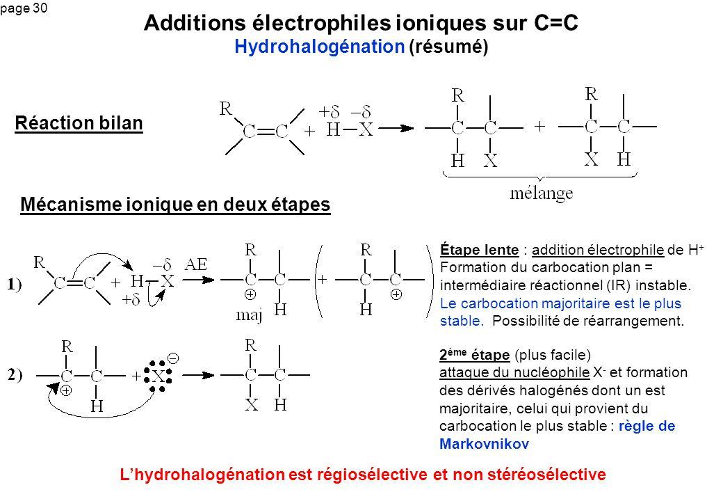 page 30 Additions électrophiles ioniques sur C=C Hydrohalogénation (résumé) Étape lente : addition électrophile de H + Formation du carbocation plan =