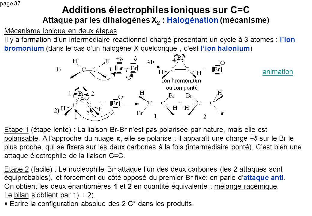 page 37 Mécanisme ionique en deux étapes Il y a formation dun intermédiaire réactionnel chargé présentant un cycle à 3 atomes : lion bromonium (dans l