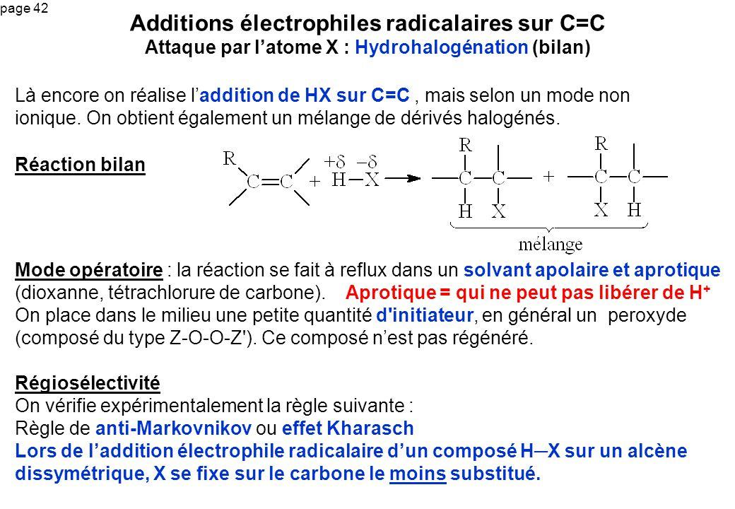 page 42 Là encore on réalise laddition de HX sur C=C, mais selon un mode non ionique. On obtient également un mélange de dérivés halogénés. Additions