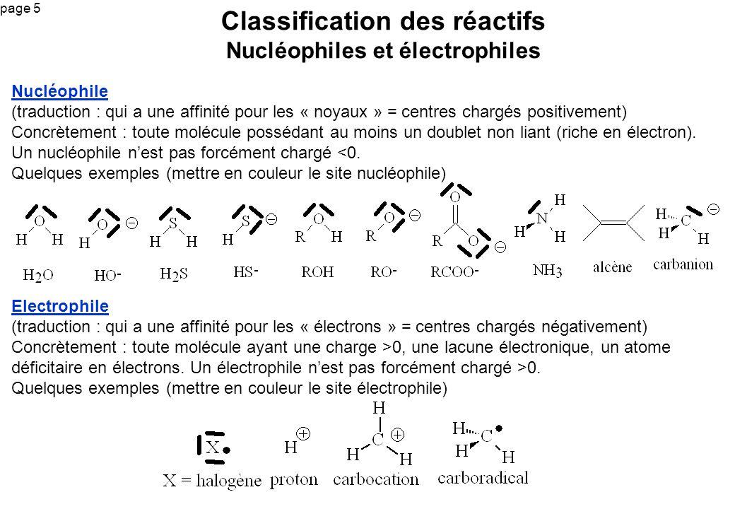 page 5 Nucléophile (traduction : qui a une affinité pour les « noyaux » = centres chargés positivement) Concrètement : toute molécule possédant au moi