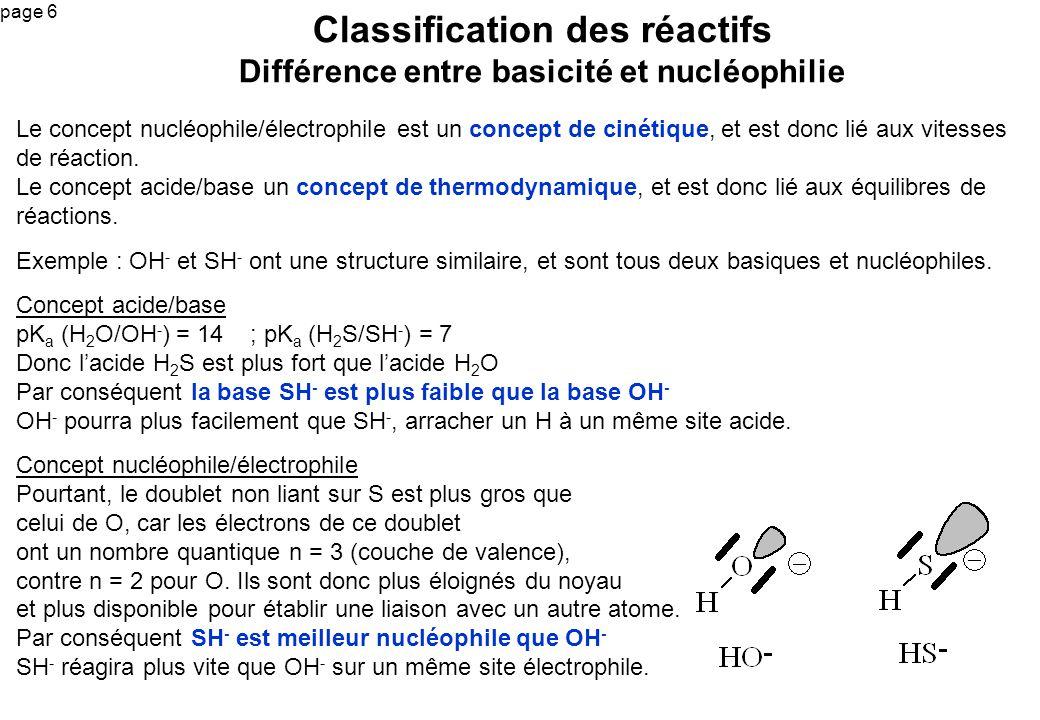page 6 Le concept nucléophile/électrophile est un concept de cinétique, et est donc lié aux vitesses de réaction. Le concept acide/base un concept de