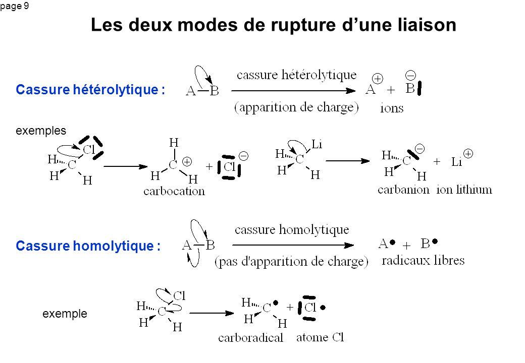page 9 exemples Les deux modes de rupture dune liaison exemple Cassure hétérolytique : Cassure homolytique :