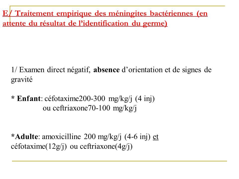 E/ Traitement empirique des méningites bactériennes (en attente du résultat de lidentification du germe) 1/ Examen direct négatif, absence dorientatio