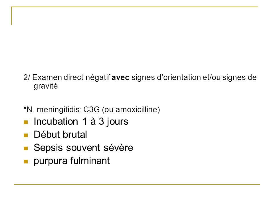 2/ Examen direct négatif avec signes dorientation et/ou signes de gravité *N. meningitidis: C3G (ou amoxicilline) Incubation 1 à 3 jours Début brutal