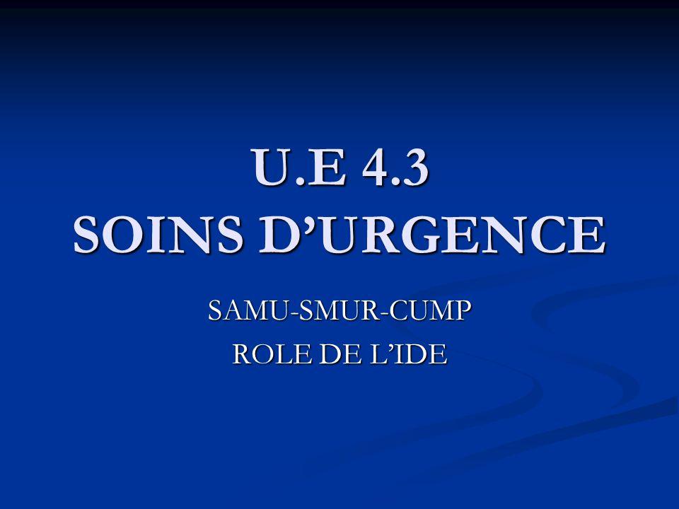 U.E 4.3 SOINS DURGENCE SAMU-SMUR-CUMP ROLE DE LIDE