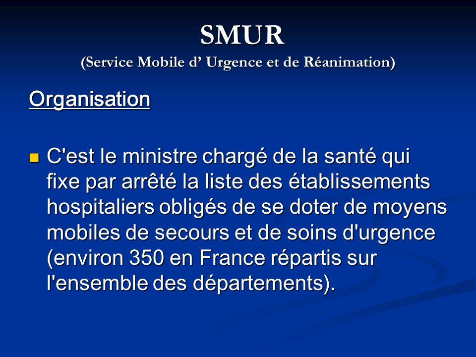 SMUR (Service Mobile d Urgence et de Réanimation) SMUR (Service Mobile d Urgence et de Réanimation) Organisation C'est le ministre chargé de la santé