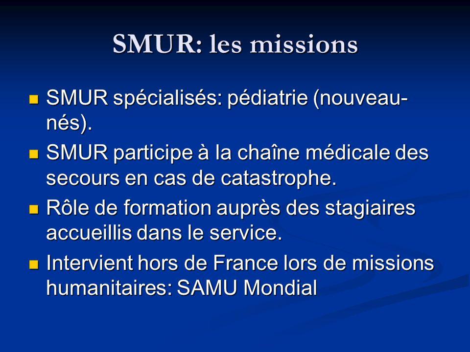 SMUR: les missions SMUR spécialisés: pédiatrie (nouveau- nés). SMUR spécialisés: pédiatrie (nouveau- nés). SMUR participe à la chaîne médicale des sec