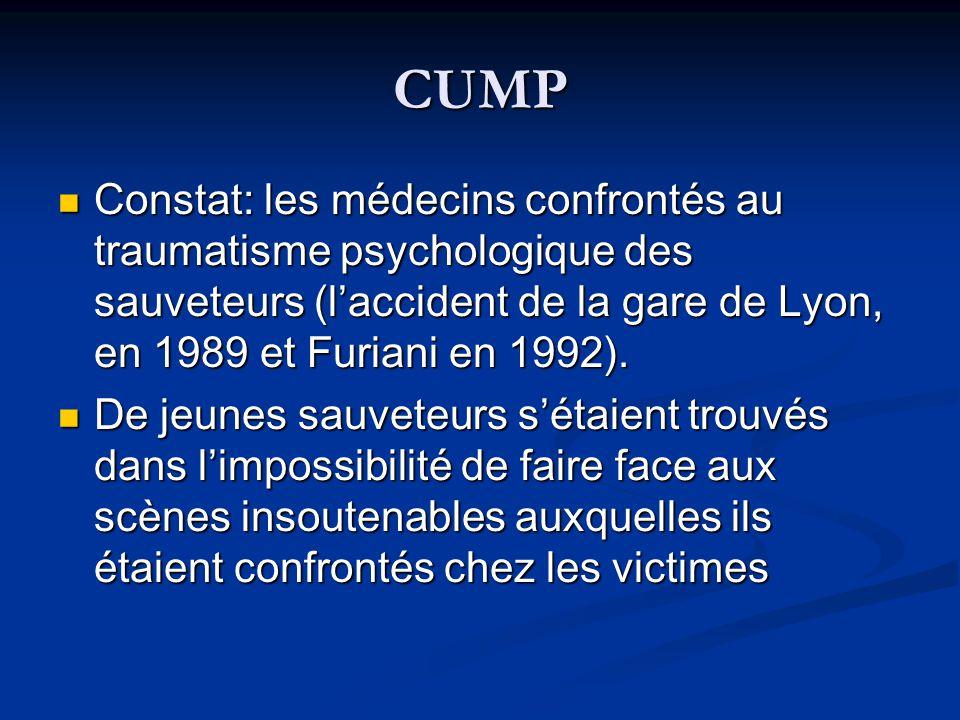 CUMP Constat: les médecins confrontés au traumatisme psychologique des sauveteurs (laccident de la gare de Lyon, en 1989 et Furiani en 1992). Constat:
