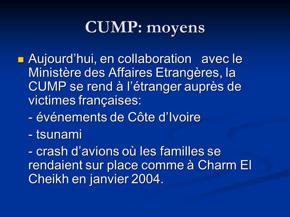 CUMP: moyens Aujourdhui, en collaboration avec le Ministère des Affaires Etrangères, la CUMP se rend à létranger auprès de victimes françaises: Aujour