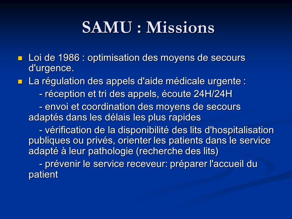 SAMU : Missions SAMU : Missions Loi de 1986 : optimisation des moyens de secours d'urgence. Loi de 1986 : optimisation des moyens de secours d'urgence