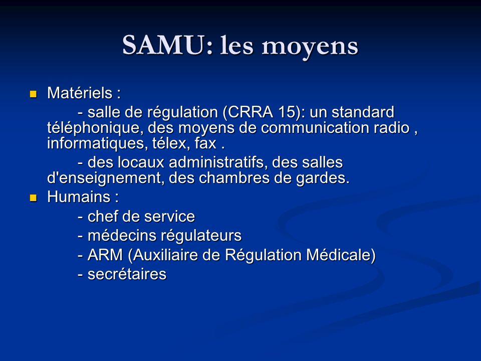 SAMU: les moyens Matériels : Matériels : - salle de régulation (CRRA 15): un standard téléphonique, des moyens de communication radio, informatiques,