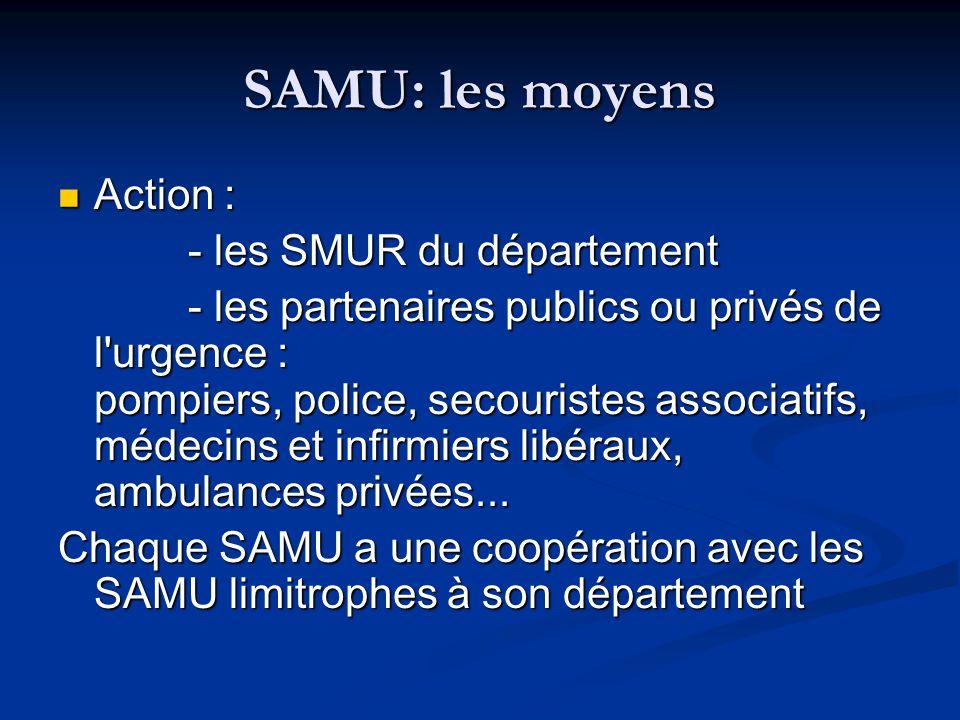 SAMU: les moyens Action : Action : - les SMUR du département - les SMUR du département - les partenaires publics ou privés de l'urgence : pompiers, po