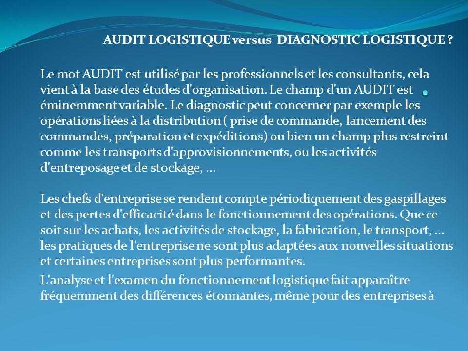 AUDIT LOGISTIQUE versus DIAGNOSTIC LOGISTIQUE ? Le mot AUDIT est utilisé par les professionnels et les consultants, cela vient à la base des études d'