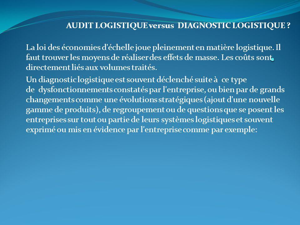 AUDIT LOGISTIQUE versus DIAGNOSTIC LOGISTIQUE ? La loi des économies d'échelle joue pleinement en matière logistique. Il faut trouver les moyens de ré