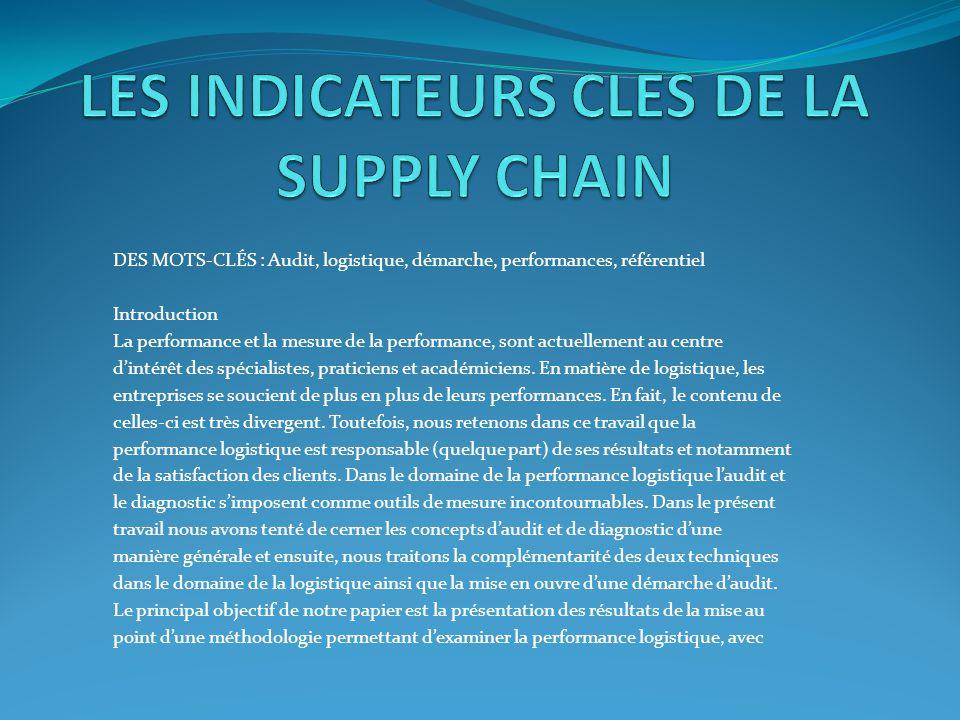 DES MOTS-CLÉS : Audit, logistique, démarche, performances, référentiel Introduction La performance et la mesure de la performance, sont actuellement a
