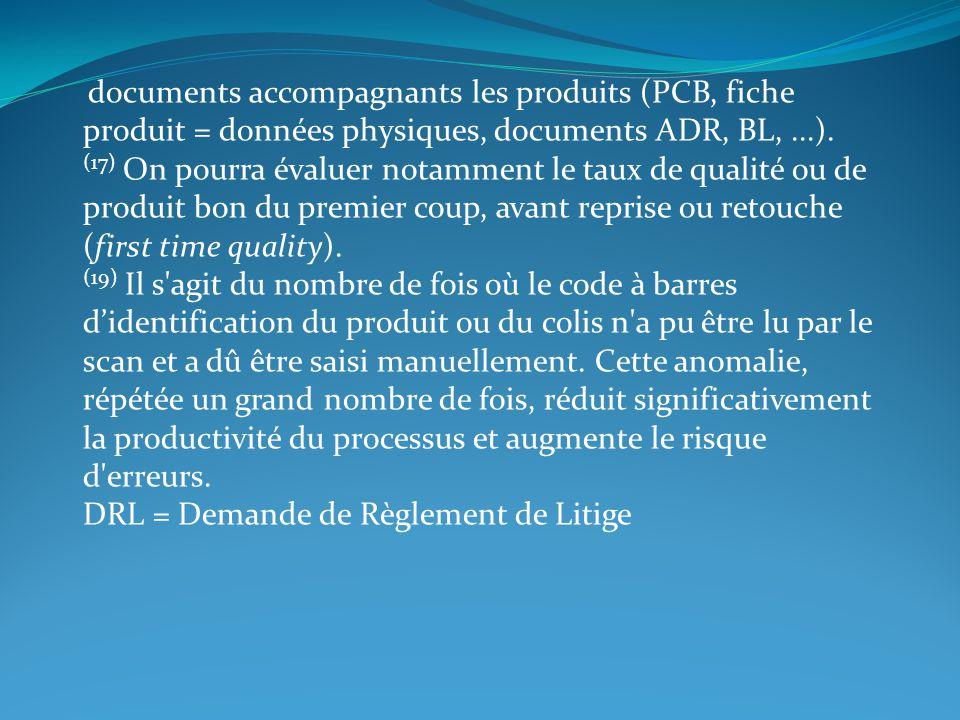 documents accompagnants les produits (PCB, fiche produit = données physiques, documents ADR, BL,...). (17) On pourra évaluer notamment le taux de qual
