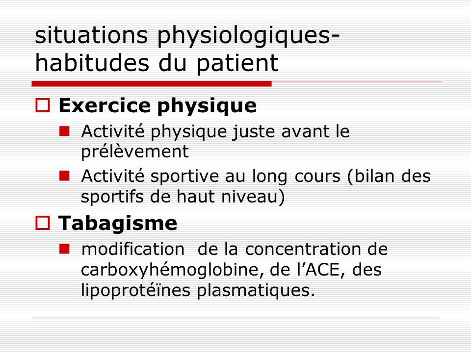 situations physiologiques- habitudes du patient Exercice physique Activité physique juste avant le prélèvement Activité sportive au long cours (bilan