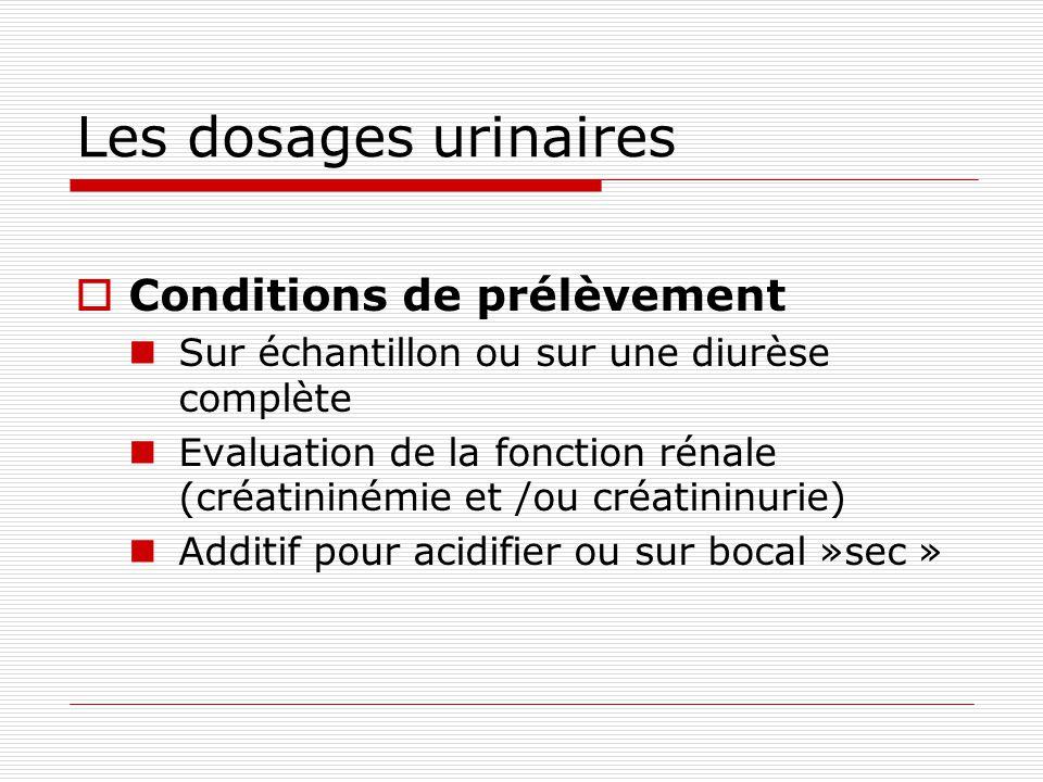 Les dosages urinaires Conditions de prélèvement Sur échantillon ou sur une diurèse complète Evaluation de la fonction rénale (créatininémie et /ou créatininurie) Additif pour acidifier ou sur bocal »sec »