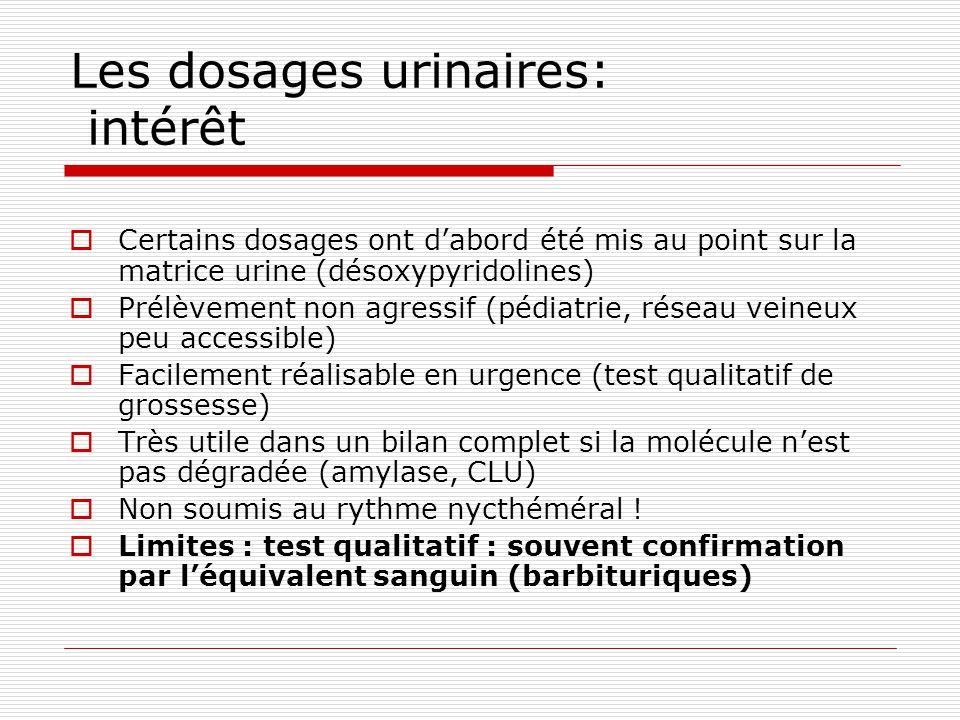 Les dosages urinaires: intérêt Certains dosages ont dabord été mis au point sur la matrice urine (désoxypyridolines) Prélèvement non agressif (pédiatr