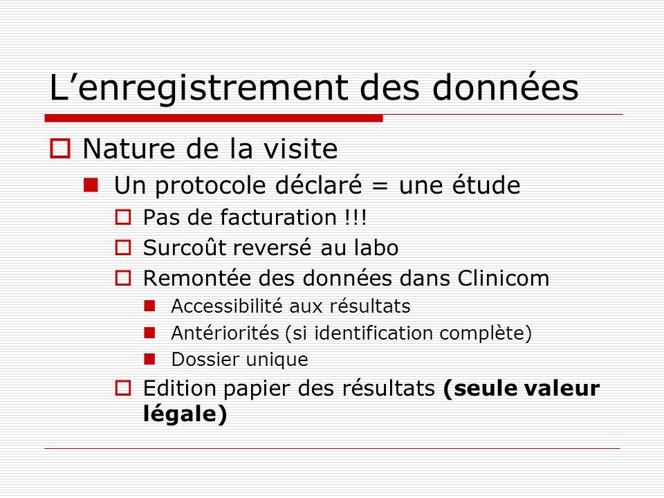 Lenregistrement des données Nature de la visite Un protocole déclaré = une étude Pas de facturation !!! Surcoût reversé au labo Remontée des données d