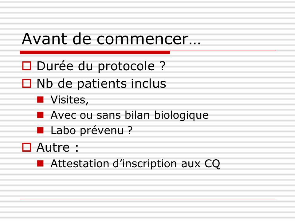 Avant de commencer… Durée du protocole ? Nb de patients inclus Visites, Avec ou sans bilan biologique Labo prévenu ? Autre : Attestation dinscription