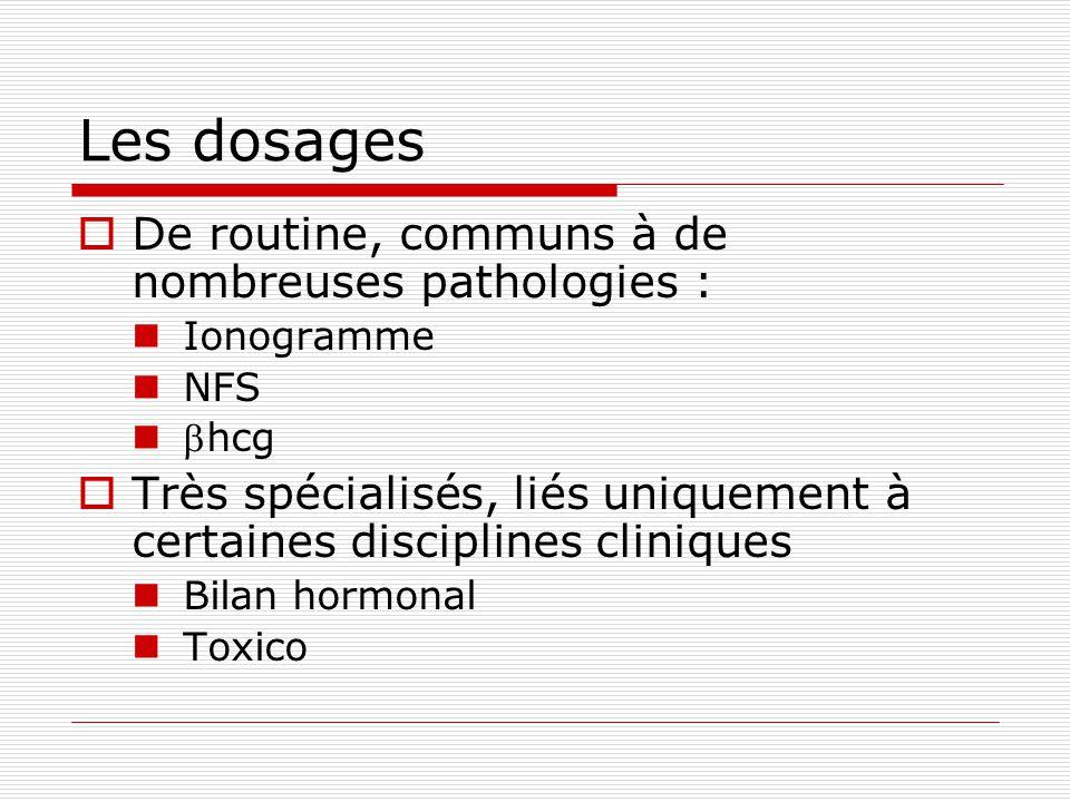 Les dosages De routine, communs à de nombreuses pathologies : Ionogramme NFS hcg Très spécialisés, liés uniquement à certaines disciplines cliniques Bilan hormonal Toxico