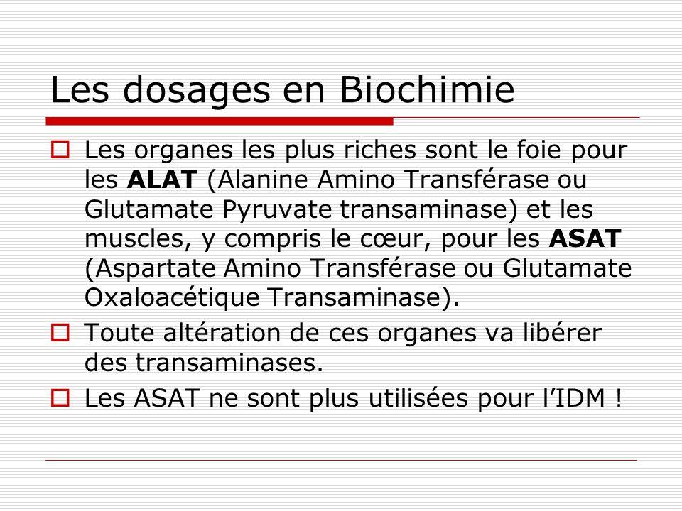 Les dosages en Biochimie Les organes les plus riches sont le foie pour les ALAT (Alanine Amino Transférase ou Glutamate Pyruvate transaminase) et les muscles, y compris le cœur, pour les ASAT (Aspartate Amino Transférase ou Glutamate Oxaloacétique Transaminase).