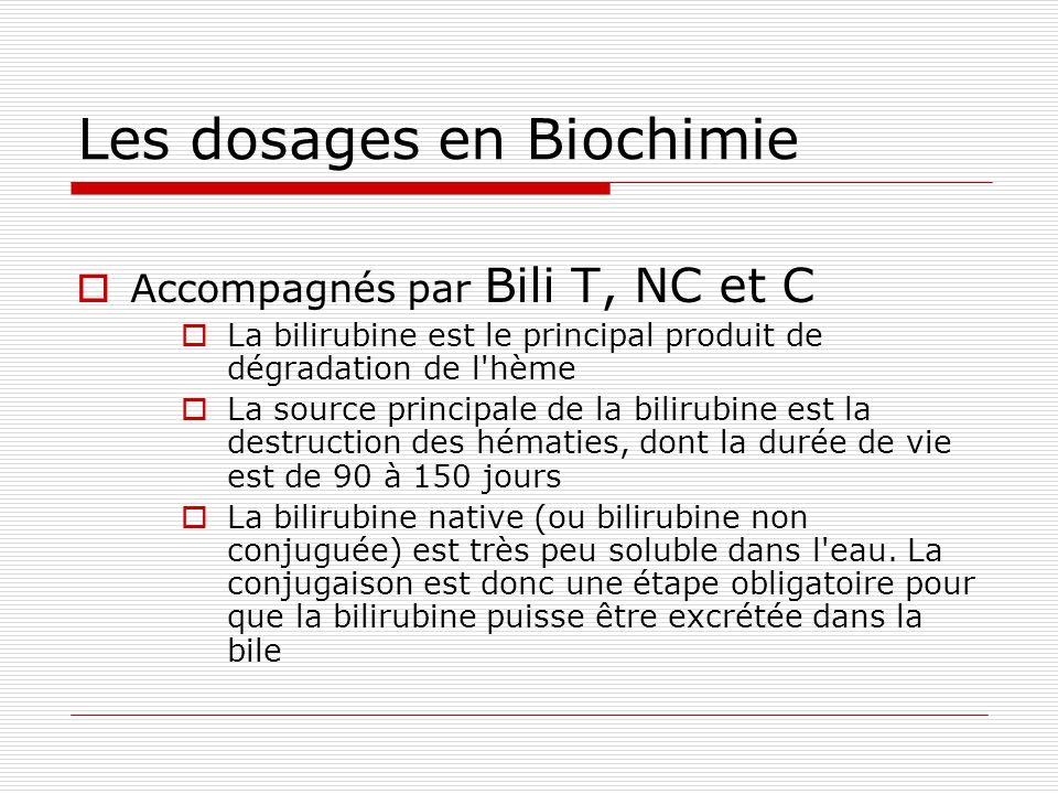 Les dosages en Biochimie Accompagnés par Bili T, NC et C La bilirubine est le principal produit de dégradation de l hème La source principale de la bilirubine est la destruction des hématies, dont la durée de vie est de 90 à 150 jours La bilirubine native (ou bilirubine non conjuguée) est très peu soluble dans l eau.
