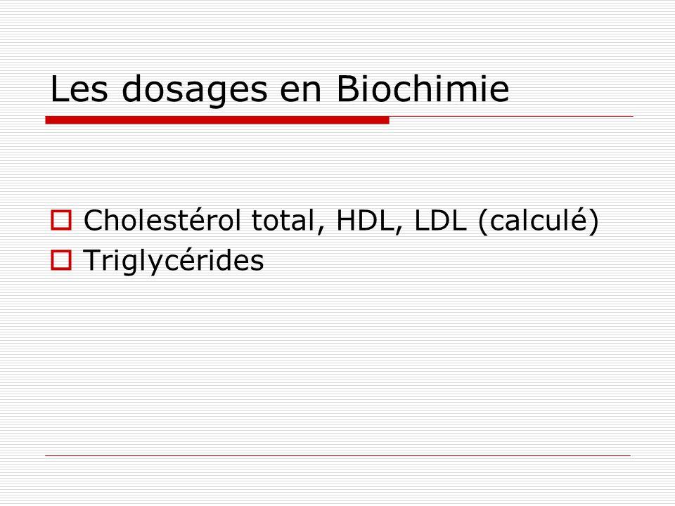Les dosages en Biochimie Cholestérol total, HDL, LDL (calculé) Triglycérides