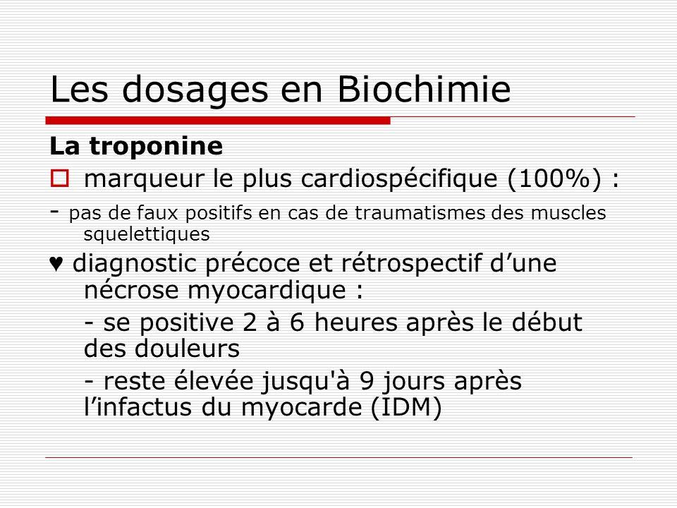 Les dosages en Biochimie La troponine marqueur le plus cardiospécifique (100%) : - pas de faux positifs en cas de traumatismes des muscles squelettiques diagnostic précoce et rétrospectif dune nécrose myocardique : - se positive 2 à 6 heures après le début des douleurs - reste élevée jusqu à 9 jours après linfactus du myocarde (IDM)